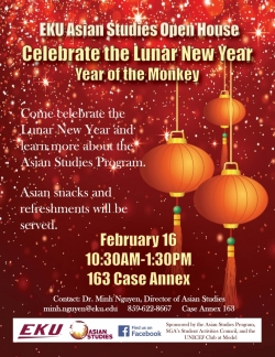 ASIAN STUDIES OPEN HOUSE: Celebrate the Lunar New Year, the Year of the Monkey