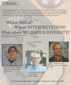 Which BIBLE? Whose INTERPRETATION? What about RELIGIOUS DIVERSITY? Scholarly Pan