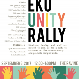 EKU UNITY RALLY: Wednesday, September 6, 2017, 12:00 (NOON) – 1:00 PM, The Ravin