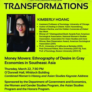 "CHAUTAUQUA LECTURE: Dr. Kimberly Hoang (U of Chicago) to Present ""Money Movers:"