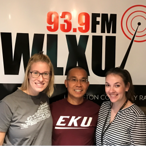 Minh Nguyen in the WLXU studio with hosts, Dana Lea and Emily Warren